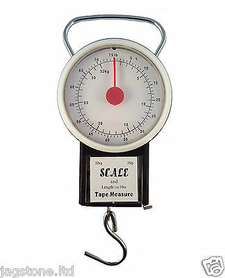 32kg/75lb Portable Travel Suitcase Baggage Luggage Weighing Scale Weight + Tape