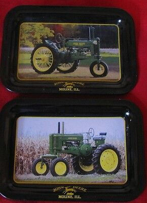 Vintage John Deere Collectible Metal Tin Trays Of Tractors-Moline, Ill.