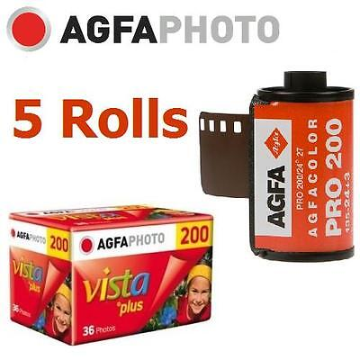 5 Roll x AGFA AgfaPhoto VISTA Plus 200 ISO 36exp 135 35mm Color Film EXP.2018