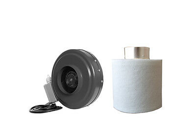 """4"""" Inch Inline Hydroponic Duct Fan Carbon Filter Blower Combo Kit"""