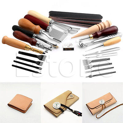1Set Stitching Carving Working Sewing Saddle Groover Punch Leather Craft Tools