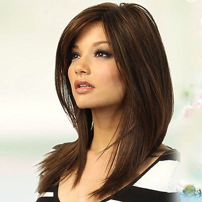 Women Dark Brown Long Straight Partial Bangs Full Wig Heat Resistant Party Hair