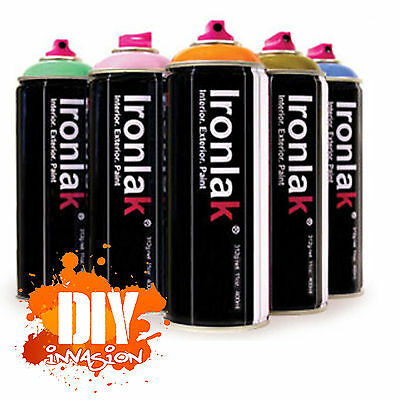 IRONLAK 6 Pack Graffiti Spray Paint Street Art Mural Aerosol Can Many Colours