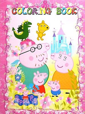 Kids Girls Colouring Coloring & Sticker Book Peppa Pig Party Time Fun mas Gift