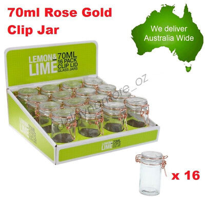 16x 70ml Spice Mini Rose Gold Glass Jars Clip Lid Bottle Jam Storage Jar wedding