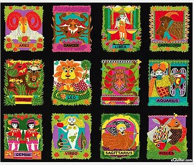 Zodiac Signs Quilt Panel * Great Colours * New *  In Stock * Free Post *