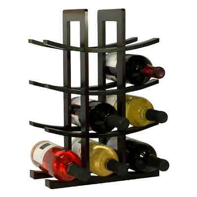 New 12-Bottle Dark Espresso Bamboo Wine Rack Free Standing Compliments Any Home