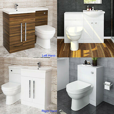 Modern Toilet and Sink Vanity Unit Bathroom Basin Furniture Back To Wall Toilet