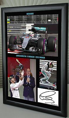 Lewis Hamilton 2016 Monaco F1 GP Winner Mercedes Framed Canvas Print Signed