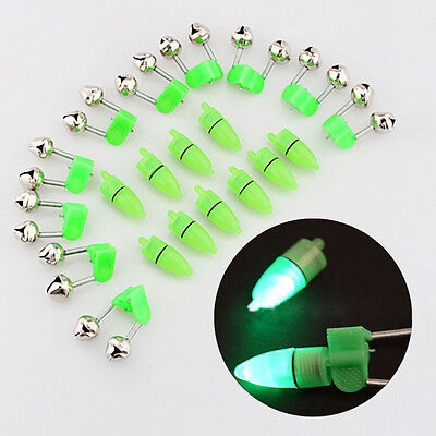 10X LED Light Fishing Bite Alarm Finder Lamp Twin Bells Tip Clip On Fishing Rod