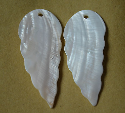 2pcs MOTHER OF PEARL SHELL WING FEATHER SHAPE PENDANT EARRING TAG BEADS HANDMADE