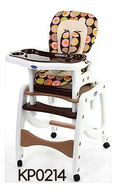 Kp0214 Brown Feeding Rocking High Chair 3In1 Adjustable Foldable