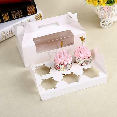 5/10/20X 6 Muffin Paper Cupcake Box Party Favor Gift Packing Container Holder