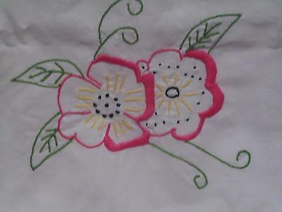 Beautiful Embroidered Hot Pink Flower Single Pillowcase