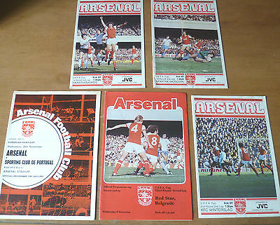 5x Arsenal, 1969-82, UEFA / Fairs Cup Home Programmes.