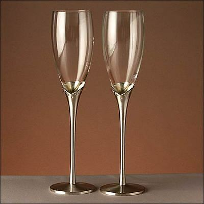 WeddingToasting Champagne Glasses Flutes Silver Tulip Crystal Diamante Accent