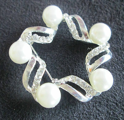 New Pearl & Diamane Collar Tie Stock Show Pin Brooch Dressage