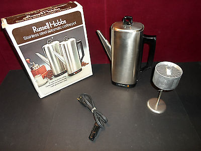 Rare Vintage Russel Hobbs Retro stainless steel automatic coffee pot # 3010