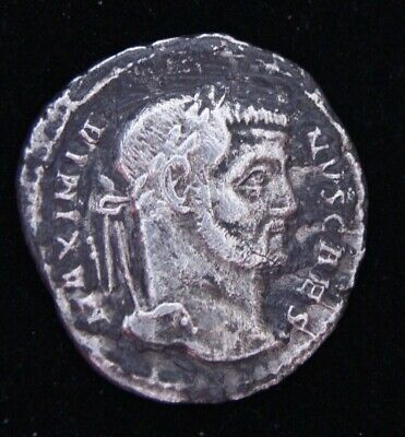 Ancient Roman Silver Coin Galerius; 305-311 A.d. Very Rare Coin. Toned!