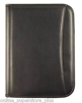 Travis & Wells Executive Zippered Black Leather iPad/tablets Padfolio New Planners & Organizers