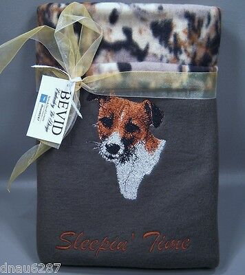 """Jack Russell Terrier Fleece Embroidered Dog Blanket - by Bevid 30""""x30"""""""