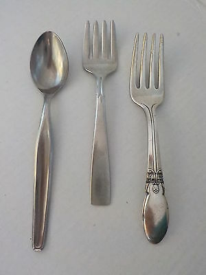 Group 3 Vintage Baby Forks and Spoon Silver Plate Stainless Steel