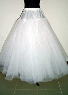White NO-Hoop 3-layers Petticoat Wedding Dress Crinoline Petticoat Skirt Slip