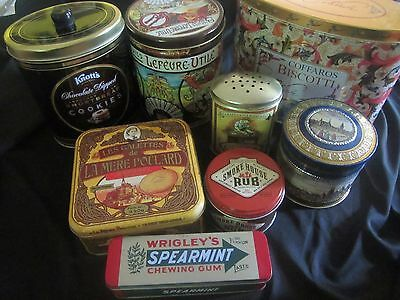 Lot Of 8 Vintage Kitchen Tins--Beautiful, Decorative, Colorful, Large & Small