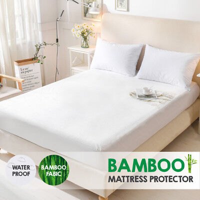 Bamboo Terry Pile Fully Fitted Waterproof Mattress Protector-ALL SIZE Available
