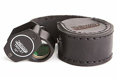 "BelOMO 10x Triplet Loupe Magnifier 21mm .85"" with LEATHER CASE. Limited edition"