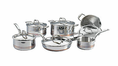 Lagostina 5PLY Copper Clad 12 Piece Cookware Set, Therma-PLY Technology Lids NEW