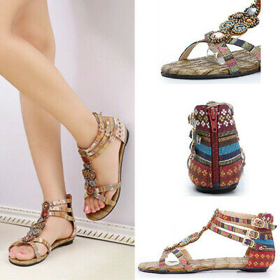 New Women Retro Bohemia Beads Slipper Flip Flops Denim Flat Sandals Buckle Shoes