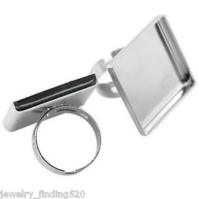 520 wholesale Silver Adjustable Square Cabochon Setting Ring Blank 18.7mm