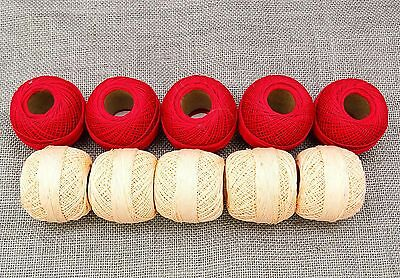 Mercerized Cotton Crochet Ball Yarn Thread Skeins Set of 10 Pcs Embroidery