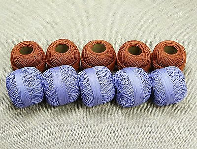 Lot Of 10 Pcs Embroidery Knitting Cotton Crochet Skein Thread Ball Gray Blue