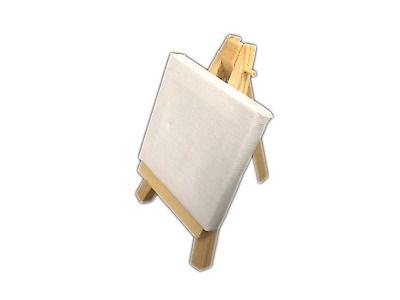 12 Mini Timber Easel Display Stand With Blank Canvas  ( 7 x 7 cm)  New  bulk