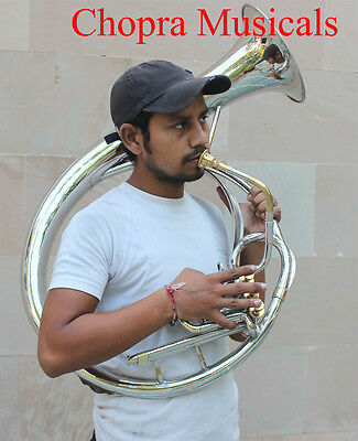 """Sousaphone (Helicon) 10"""" Bell Bb Nickel 3 V Shinning Brass+Bag M/Piece Fast Ship"""