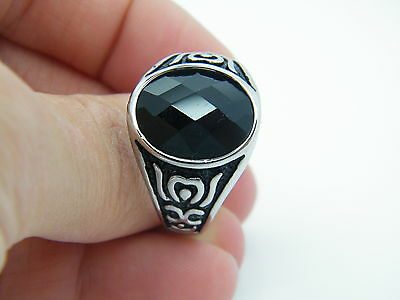 Men's Women's Chunky Sygnet With Black Stone Stainless Steel 316L Ring 01