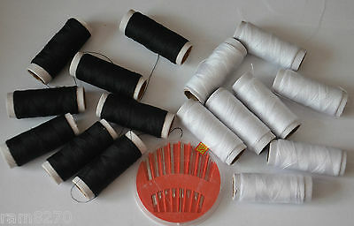 COTTON SEWING THREAD BLACK OR WHITE OR PACKET OF NEEDLES Spool Bobbin Reel