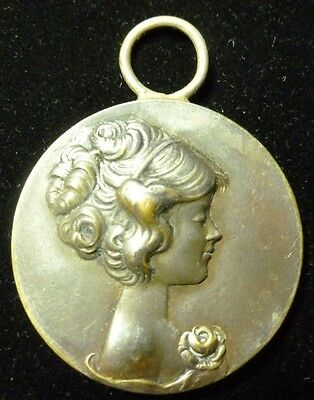 Brass on White Glass Round Girl's Woman's Head Loope Pendant Charm Antique