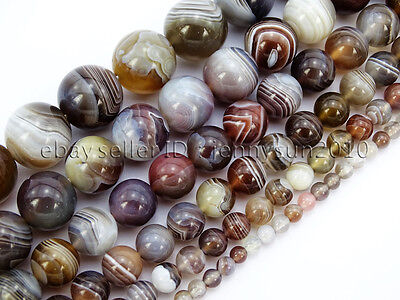 Natural Botswana Agate Gemstone Round Beads 15.5'' 4mm 6mm 8mm 10mm 12mm 14mm