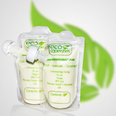 EcoSqueezies Reusable Pouches 20 Pack 200ml for Food on the Go