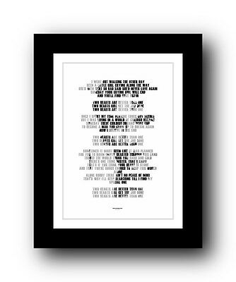 BRUCE SPRINGSTEEN Two Hearts ❤❤ song lyric poster typography Print 5 sizes #45