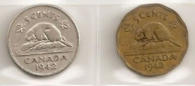 SCARCE BOTH VARIETIES 1942 CANADIAN/CANADA 5 CENT COIN (NICKEL and TOMBEC)
