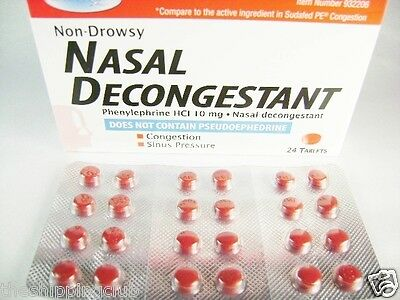 1 x NASAL DECONGESTANT 24 Tablets Phenylephrine HCI 10mg Sinus Relief NON DROWSY