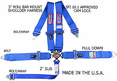 Rjs Racing Equipment Sfi 16.1 Cam Lock 5 Point Racing Harness Blue 1031703