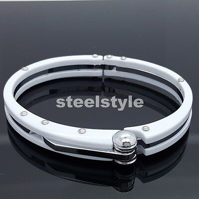 Handcuff  Stainless Steel 316L Wristband Men's Jewellery Bracelet White Colour