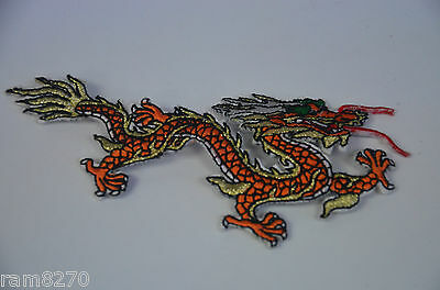 Orange Dragon Tattoo Style Embroidered Cloth Sew Iron On Patch Badge Jacket Do1