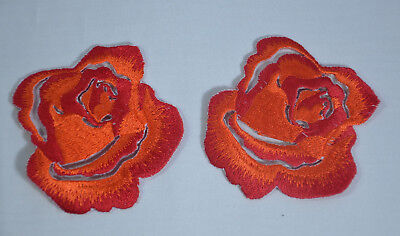 ORANGE BLACK ROSES  Embroidered Sew Iron On Cloth Patch APPLIQUE SEWING NEW