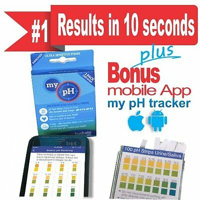 New Ph Test Strips Kit 100ct Accurately Get Saliva or Urine Ph Results in 10 Sec